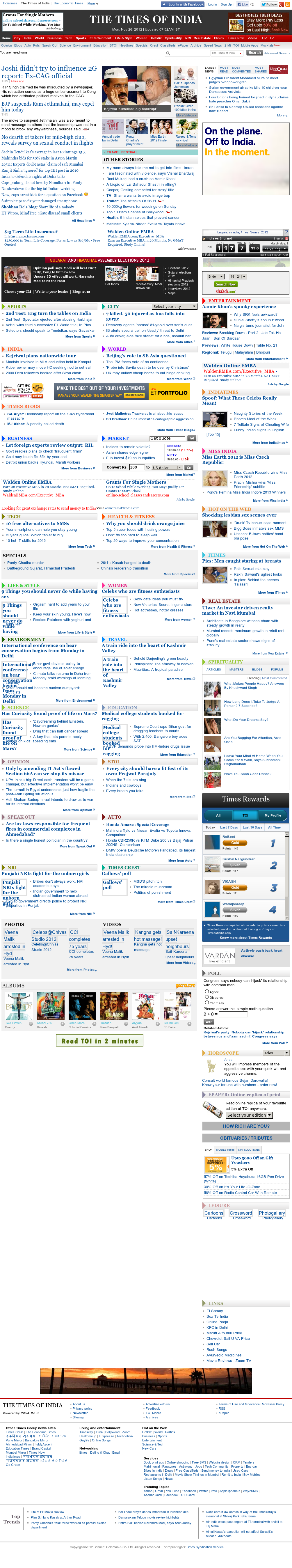The Times of India at Monday Nov. 26, 2012, 2:33 a.m. UTC
