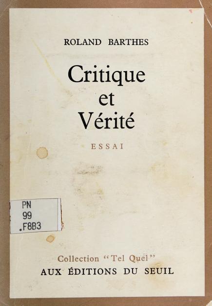 Critique et vérité by Roland Barthes