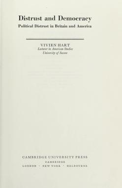 Cover of: Distrust and democracy | Vivien Hart